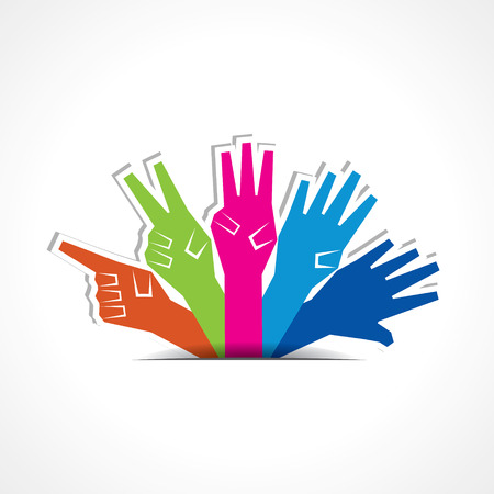 four hands: Hands make number one to five with copy-space stock vector