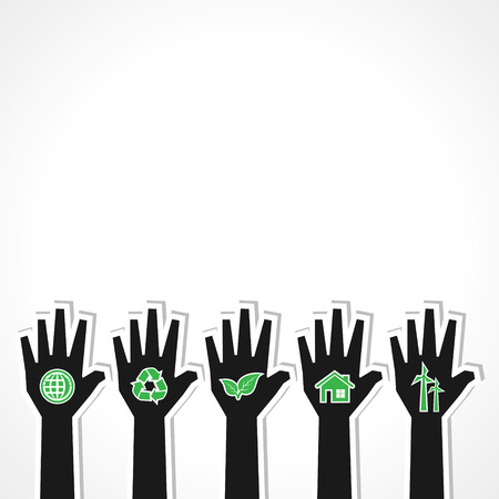 peer to peer: Unidas para el concepto de ecología con las manos - ilustración vectorial Vectores