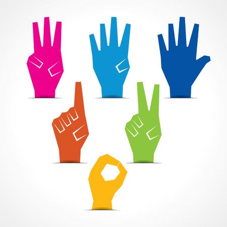 Vector hands make number zero to five with copy-space Vector