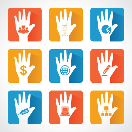 Different business icons and design with helping hand stock vector Vector