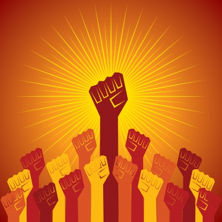 temper: clenched fist held in protest concept  vector illustration