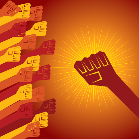 clenched fist held in protest concept  vector illustration Vector