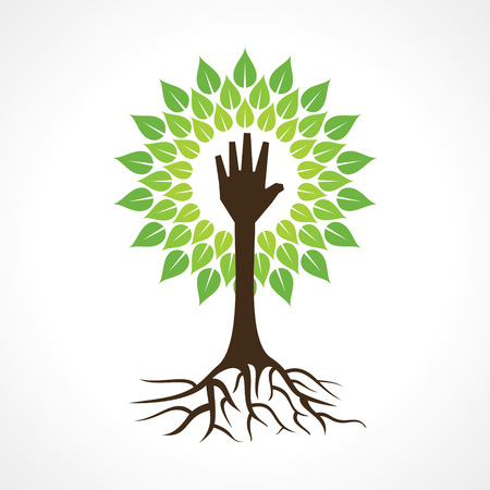 Helping hand make tree - vector illustration Vector