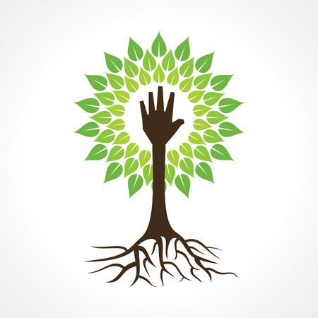 Helping hand make tree - vector illustration Illustration