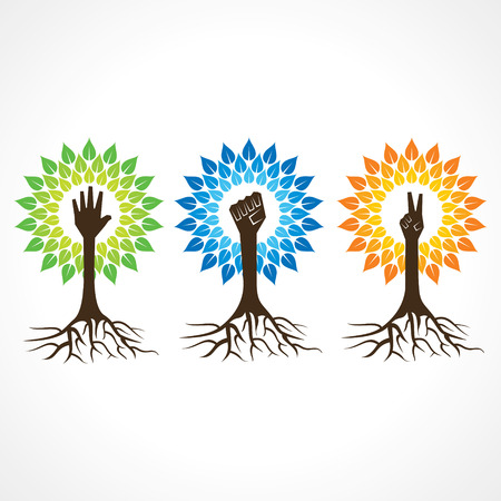 Unity,victory and helping hand make tree - vector illustration
