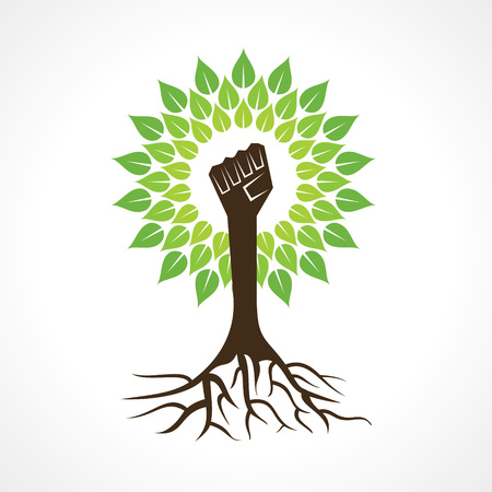 tree root: Unity hand make tree - vector illustration Illustration