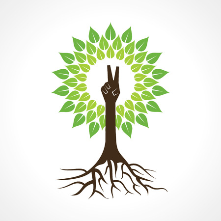 Victory hand make tree - vector illustration Vector