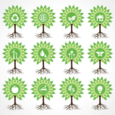 Set of eco icons on tree stock vector Vector