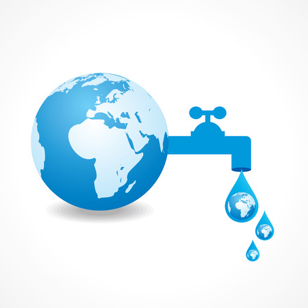 save water concept with earth stock vector Vector