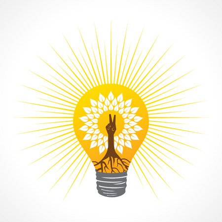 Victory hand make tree inside the bulb - vector illustration
