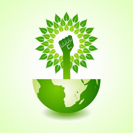 Unity hand make tree on earth - vector illustration Illustration