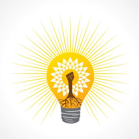 Unity hand make tree inside the bulb - vector illustration Illustration