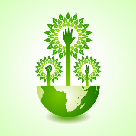 stop global warming: Unity ,victory and helping hand make tree on earth - vector illustration Illustration