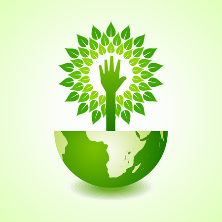 hand stop: Helping hand make tree on earth - vector illustration