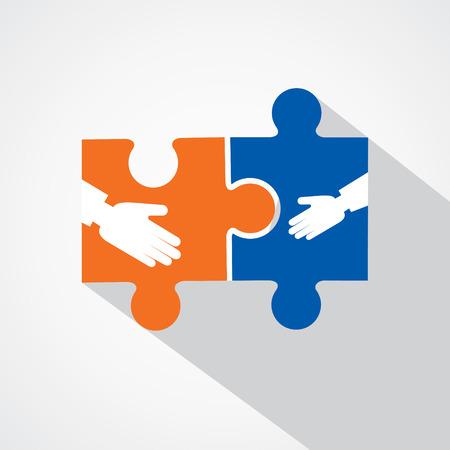 パズルのピースの株式ベクトルと実業家ハンドシェイク  イラスト・ベクター素材