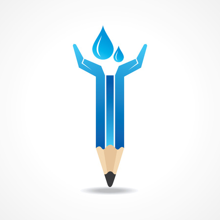 Save water concept with pencil hands stock vector  Vector