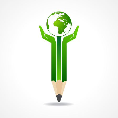 Save earth concept with pencil hands stock vector  Vector