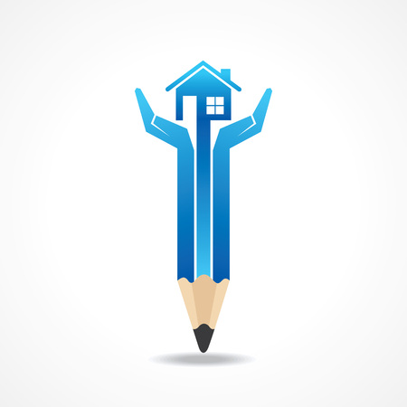 Save home concept with pencil hands stock vector