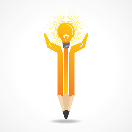Save energy concept with pencil hands stock vector  Vector