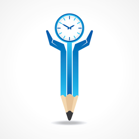 24x7: Save time concept with pencil hands stock vector