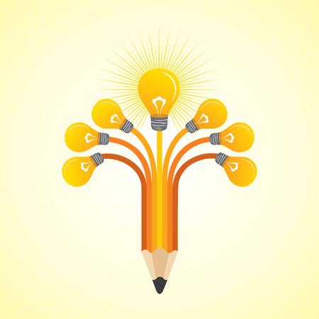 cartoon light bulb: Light-bulbs hands make pencil - vector illustration