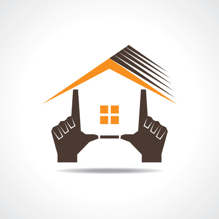 interior design: Hand make a home icon stock vector