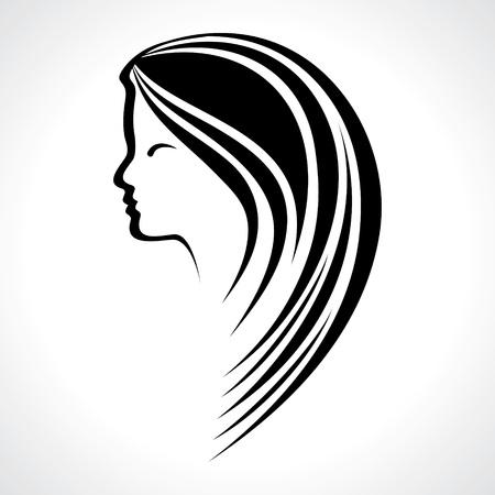 tattoo girl: Beautiful woman silhouette stock vector