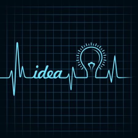 heartbeat make idea  word and light-bulb stock vector Stock Vector - 24906049