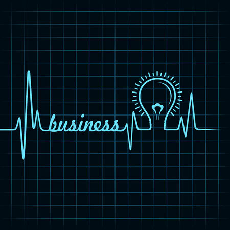 business word: heartbeat make business  word and light-bulb stock vector