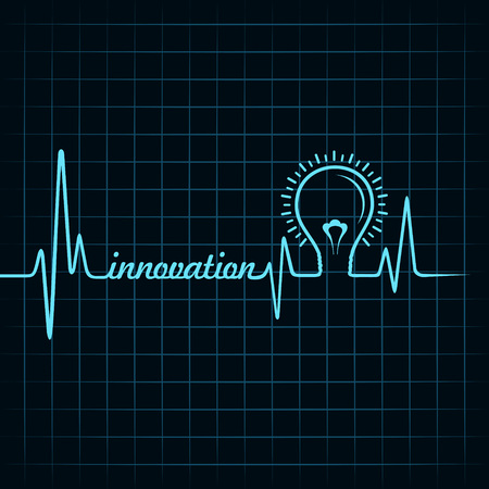 innovation word: heartbeat make innovation word and light-bulb stock vector
