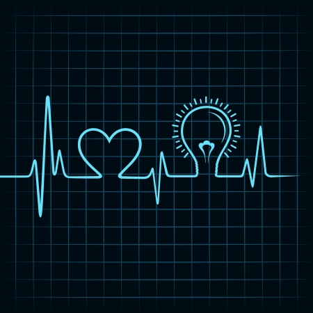 heartbeat make heart and light-bulb stock vector Stock Vector - 24906054