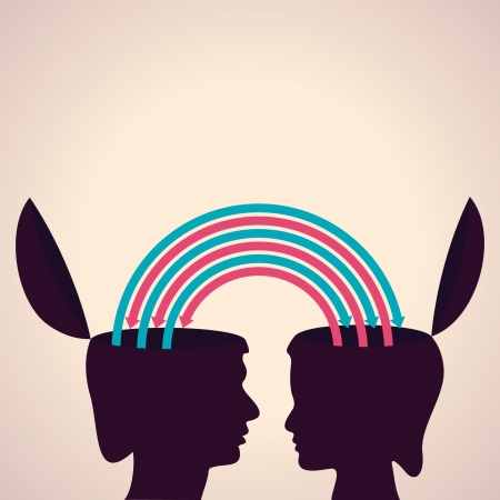 exchanging:  exchanging thoughts with each other stock vector