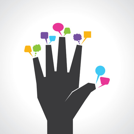 family discussion: hand with colorful message bubbles stock vector