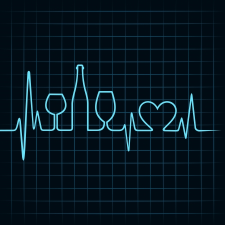 Heartbeat make wine glasses,bottle and  heart symbol stock vector