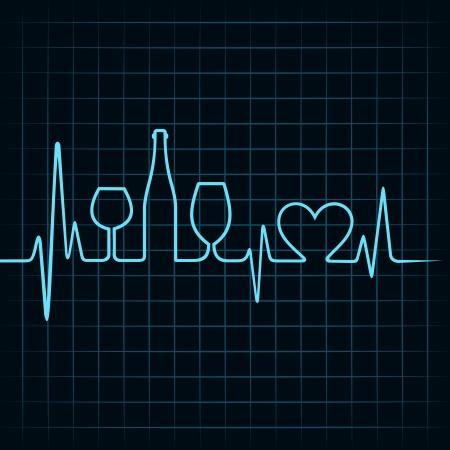 puls: Heartbeat się kieliszki do wina, butelki i symbol serca Grafika wektorowa