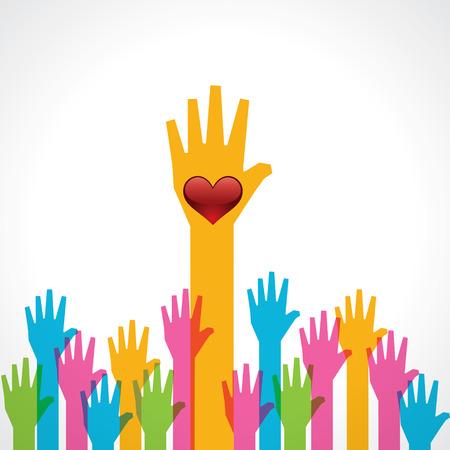 Bunte helfende Hand mit Herzvorratvektor Standard-Bild - 25494323