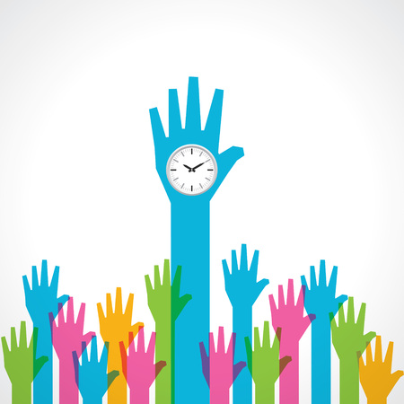 raised hand: Colorful helping hand with clock stock vector