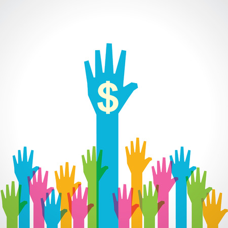 five dollars: Colorful helping hand with dollar symbol stock vector
