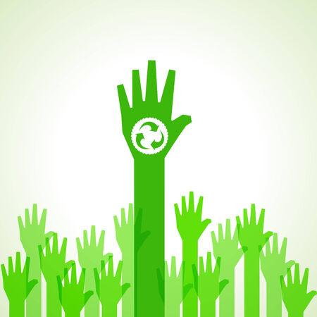niños reciclando: Fondo verde de la mano con el reciclaje icono stock vector