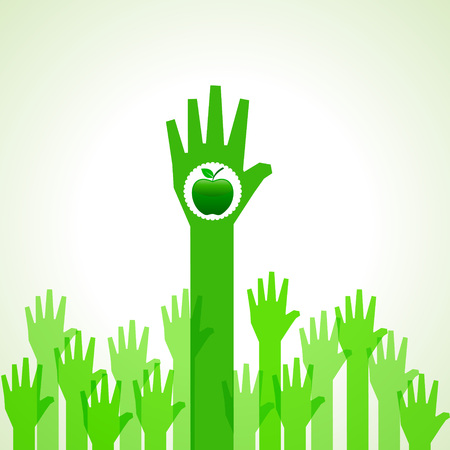 Fondo verde de la mano con la manzana verde stock vector Foto de archivo - 25494294