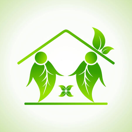 Green home icon on white background