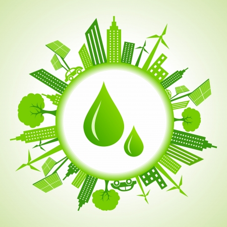 abstract mill: Eco cityscape around water drops stock vector