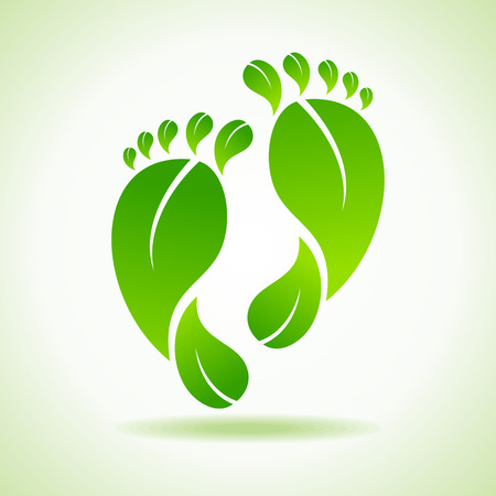 Illustration of foot made by green leaves  Vector