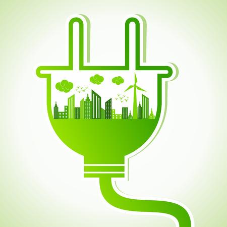 Concepto de la ecología con enchufe eléctrico - ilustración vectorial Vectores