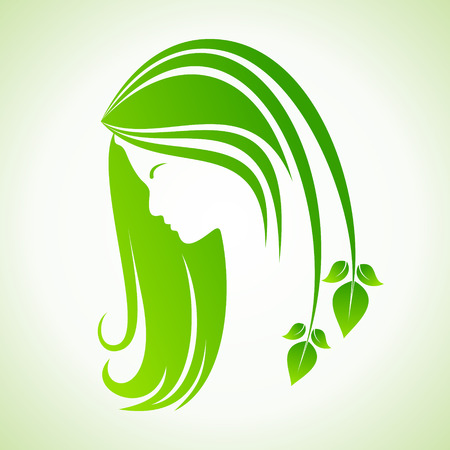 Eco icon with women face stock vector Illustration