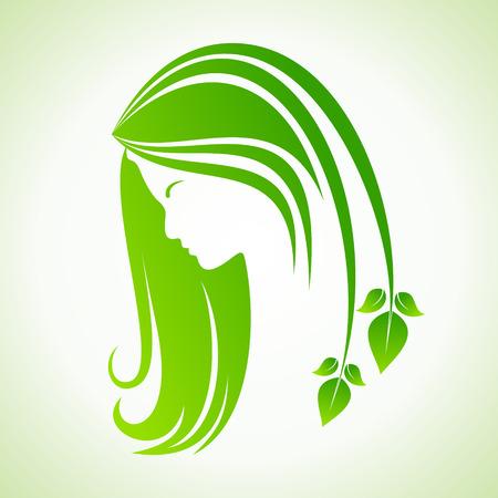 Eco icon with women face stock vector Stock Illustratie