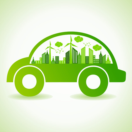oxygen transport: Ecology concept with eco car - vector illustration