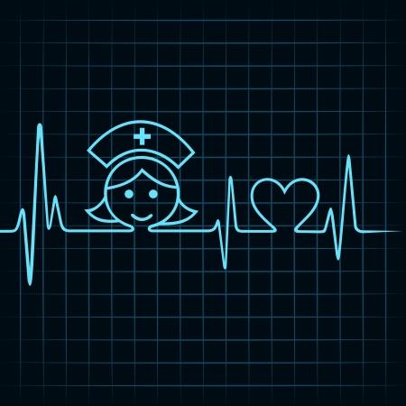 enfermera con paciente: Heartbeat hacer enfermera de la cara y el s�mbolo del coraz�n stock vector