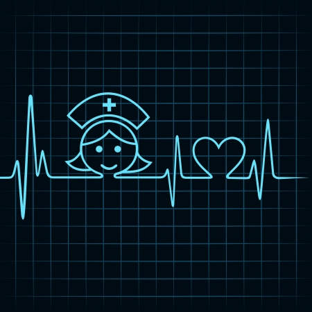 patient care: Heartbeat make nurse face and heart symbol stock vector