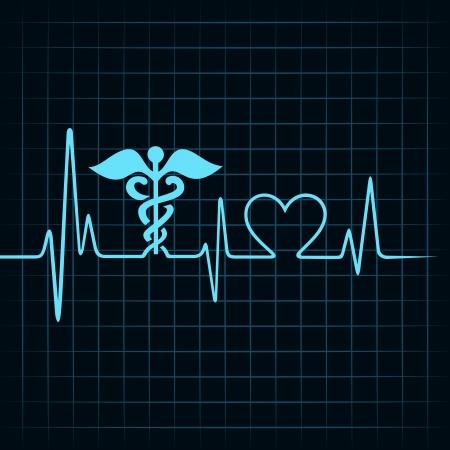 infatuation: Heartbeat make medical and heart symbol stock vector Illustration